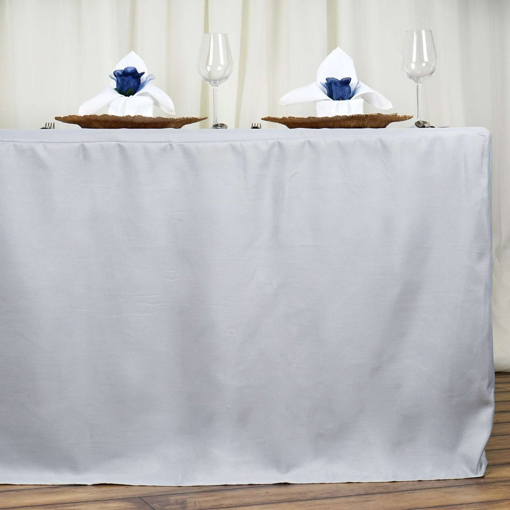6FT Fitted SILVER Wholesale Polyester Table Cover Wedding Banquet Event Tablecloth