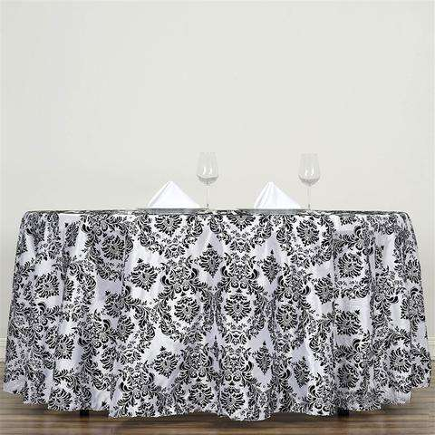 "120"" Black Flocking Damask Tablecloth"