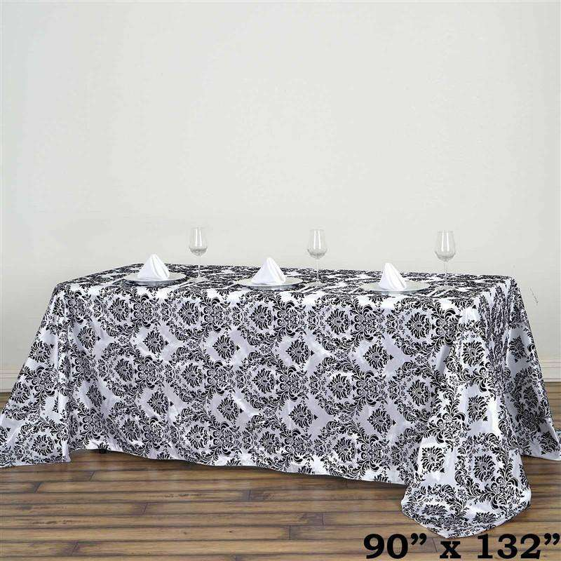 "90x132"" Flocking Damask Tablecloths"