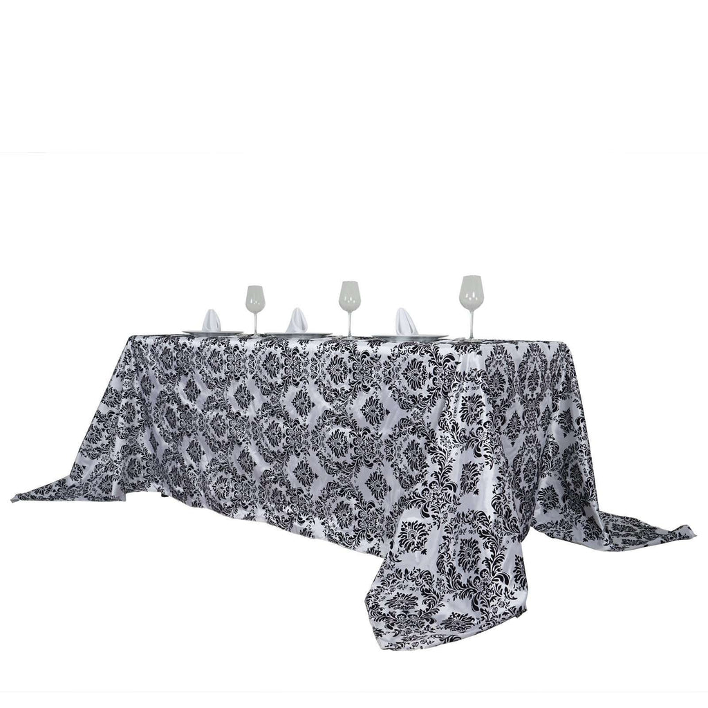 "90x132"" Black Rectangle Flocking Damask Tablecloth Wedding Party Decoration"