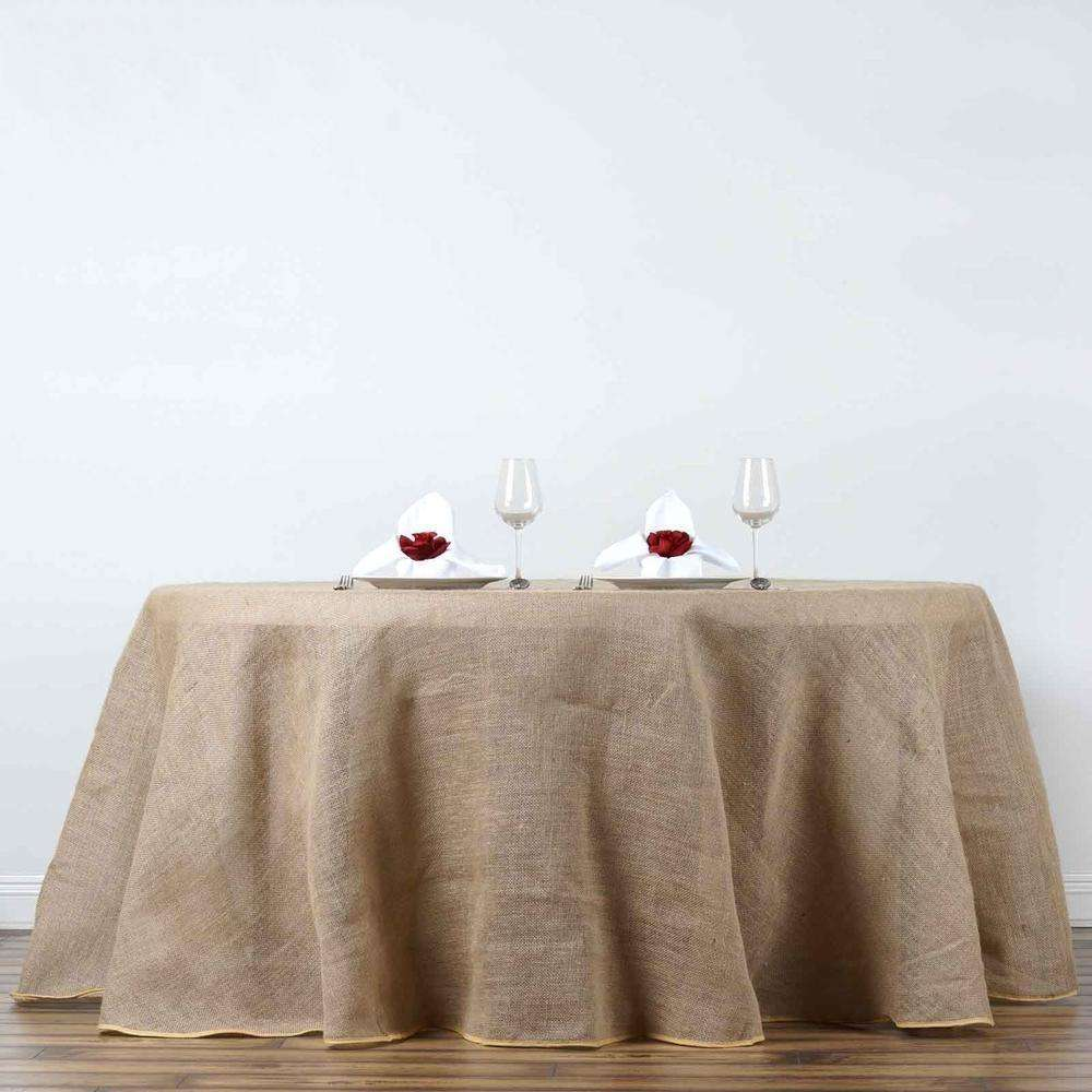 "120"" Eco-Friendly Natural Rustic Burlap Jute Round Tablecloth"