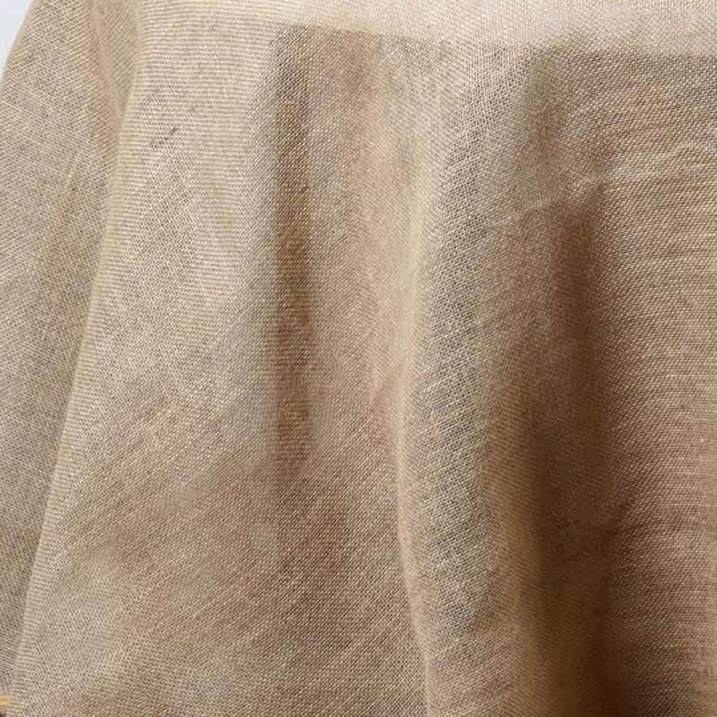 "136"" Round Rustic Burlap Tablecloth - Natural Tone"