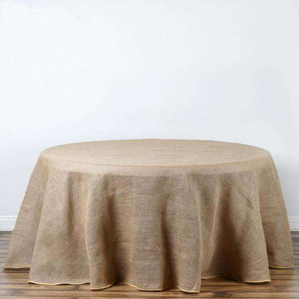 "90"" Eco-Friendly Natural Rustic Burlap Jute Round Tablecloth"