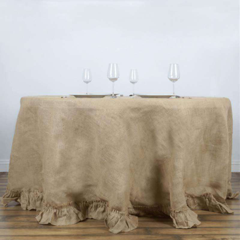 "120"" Wholesale Natural Chambury Casa Ruffled Rustic Burlap Jute Round Tablecloth For Wedding Event Decoration"