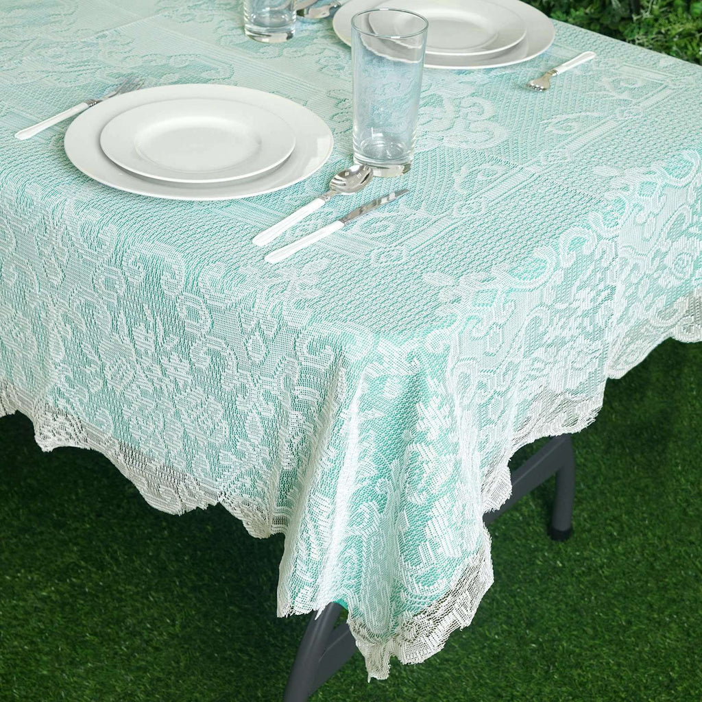 "54""x72"" Ivory Floral Lace Tablecloths For Home Decoration"
