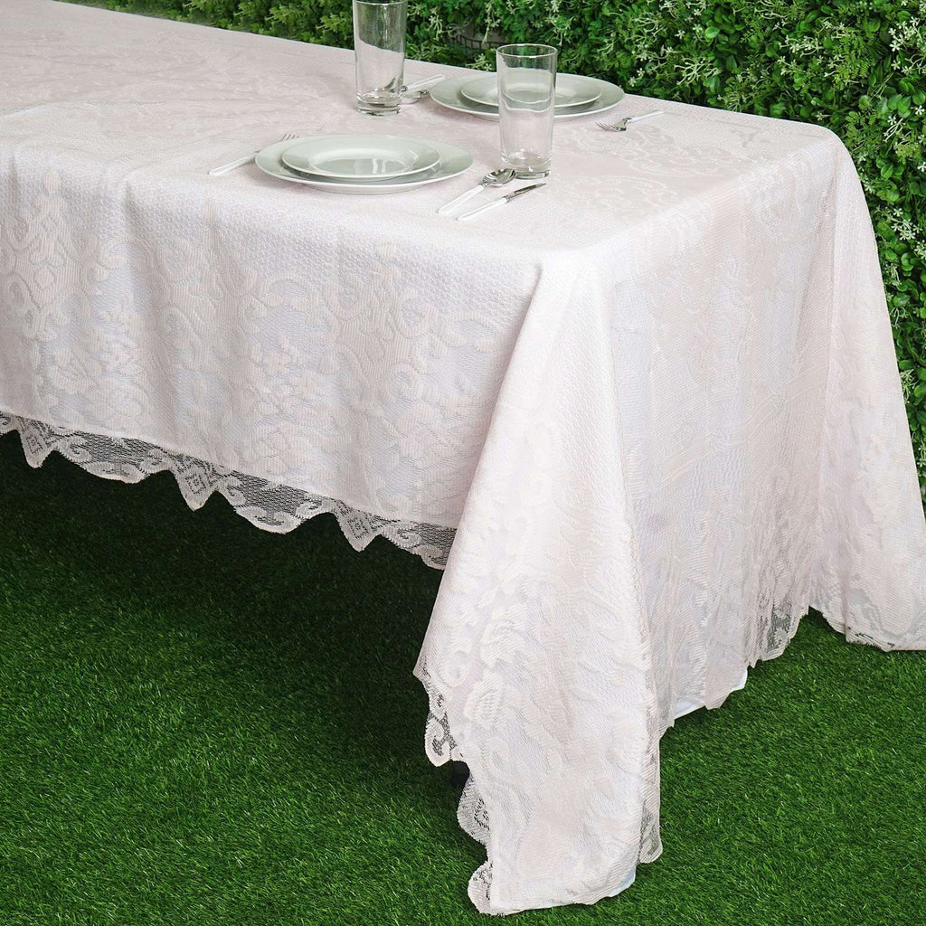 "60""x126"" Blush Floral Lace Tablecloths For Home Decoration"