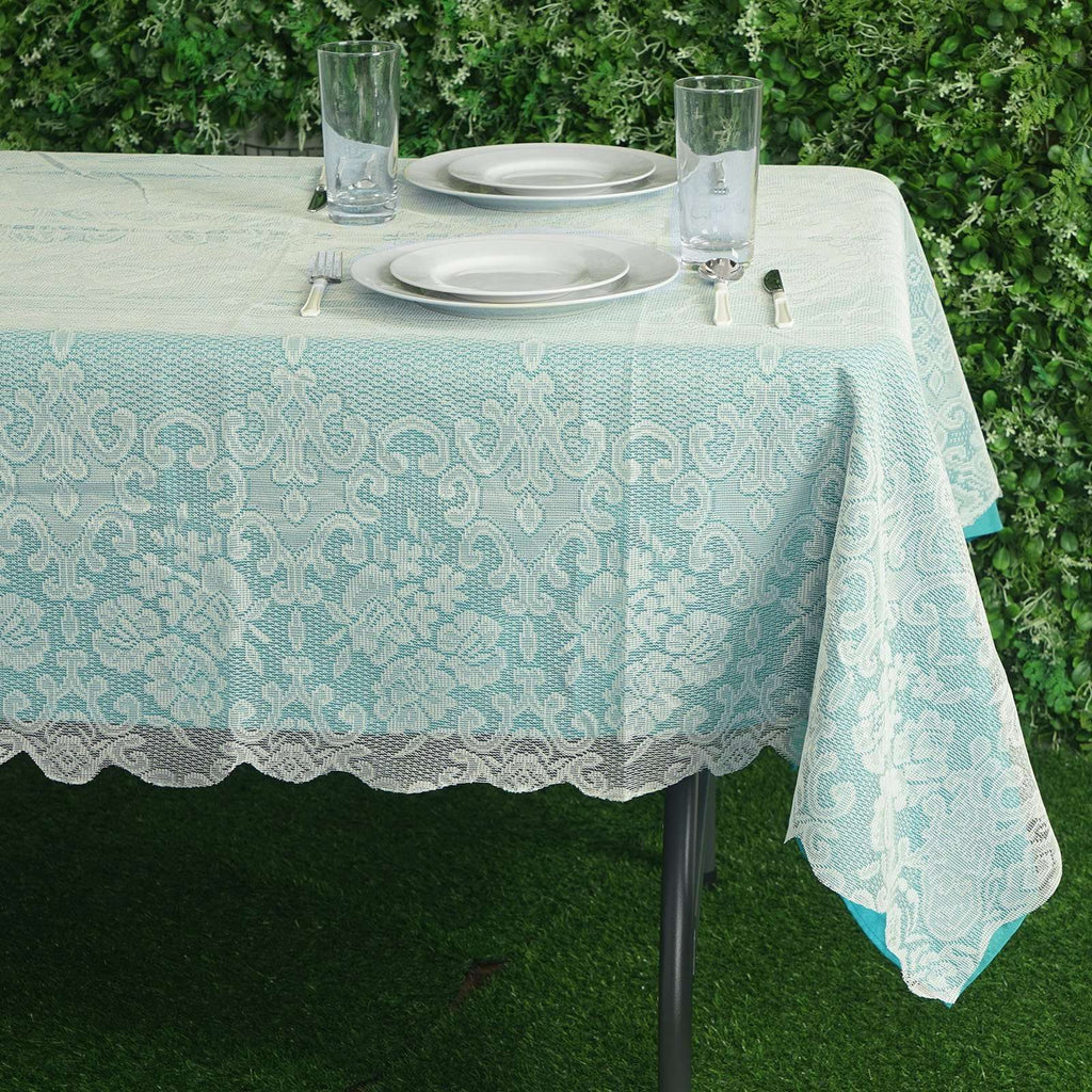 "60""x90"" Ivory Floral Lace Tablecloths For Home Decoration"