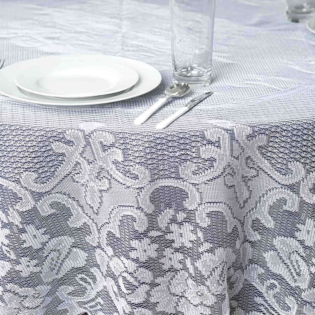 "70"" Round White Floral Lace Tablecloths For Home Decoration"