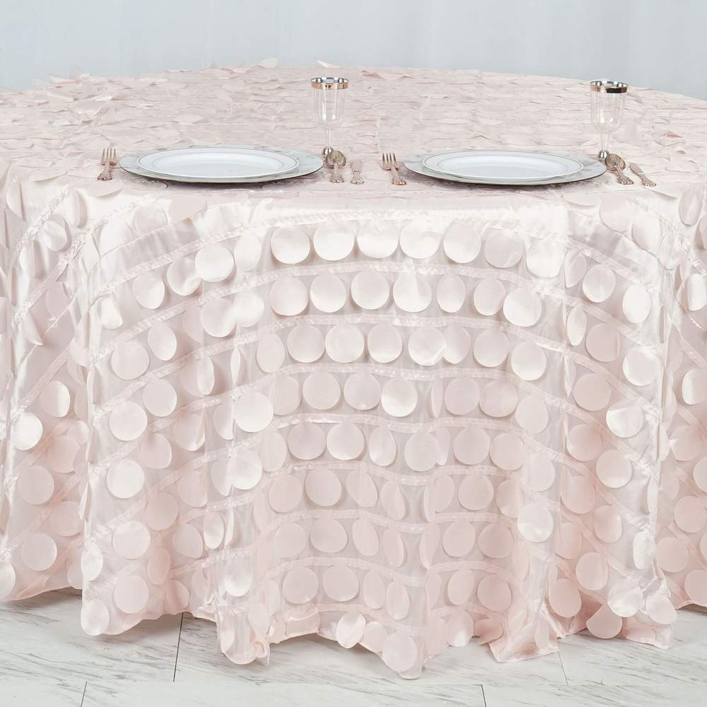 "120"" Fancy BLUSH Wholesale Taffeta Round Flamingo Petal Tablecloth For Wedding Catering Event Party Linens"