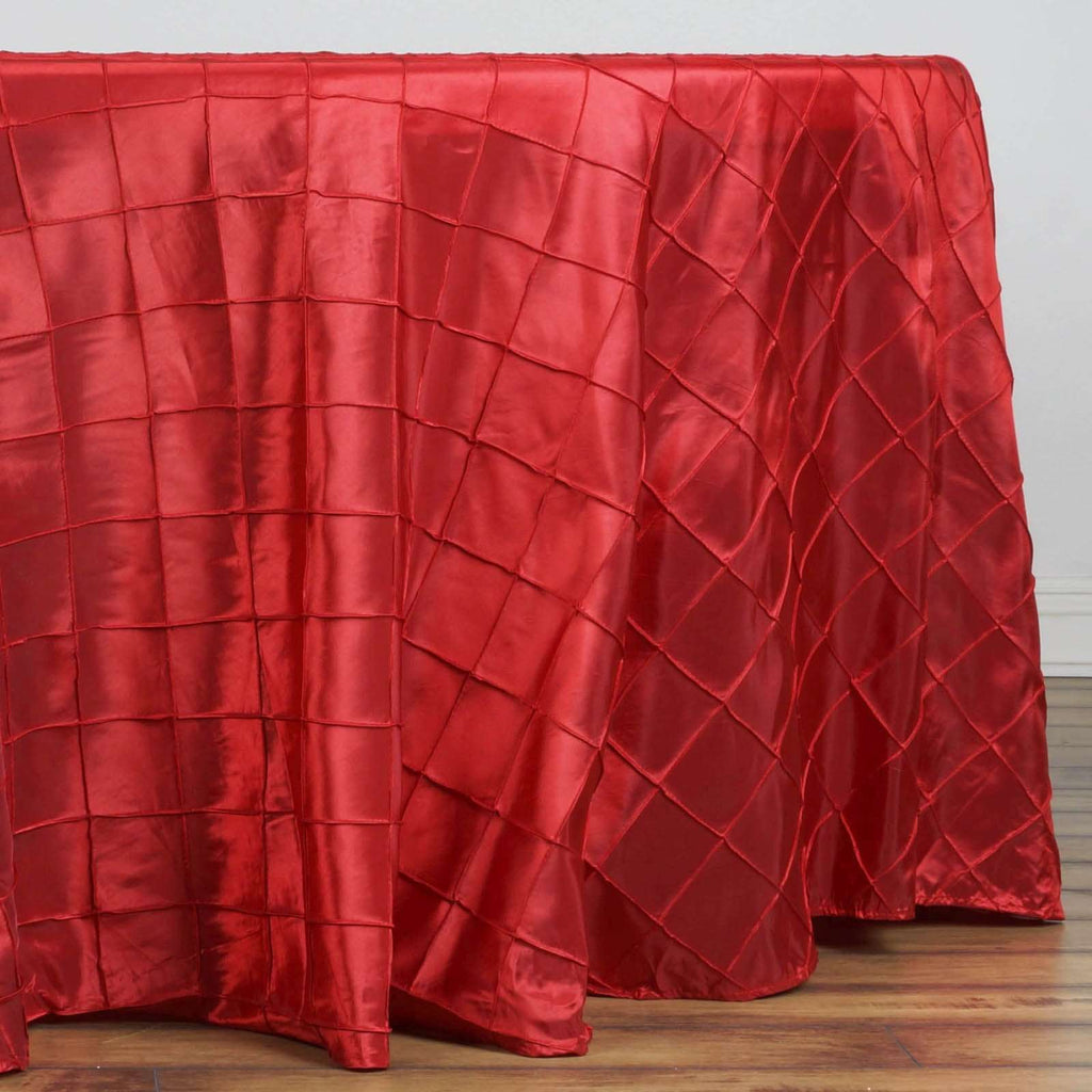 "Red Pintuck Tablecloths 108"" Round"