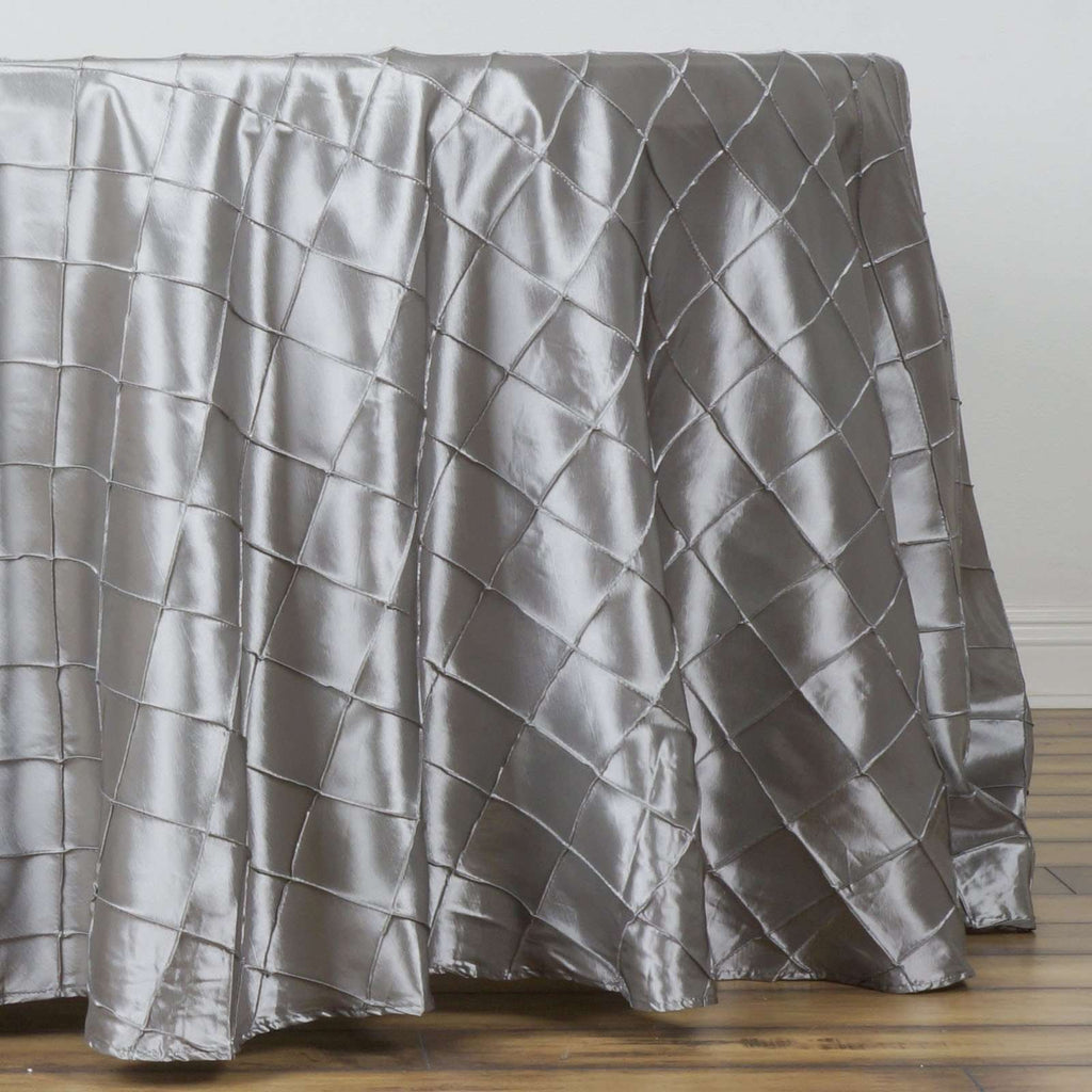 "Silver Pintuck Tablecloths 108"" Round"