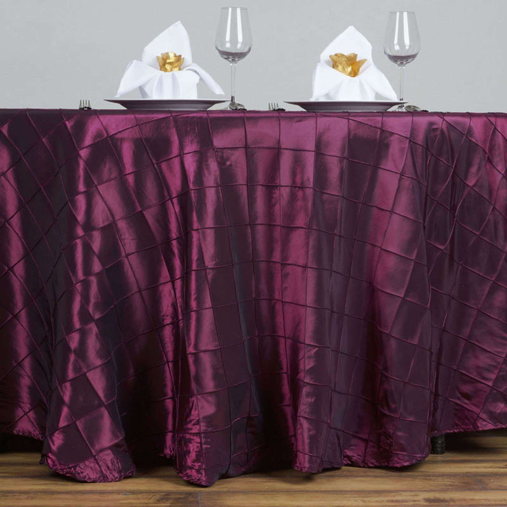 "120"" Round Tablecloth Pintuck - Burgundy"