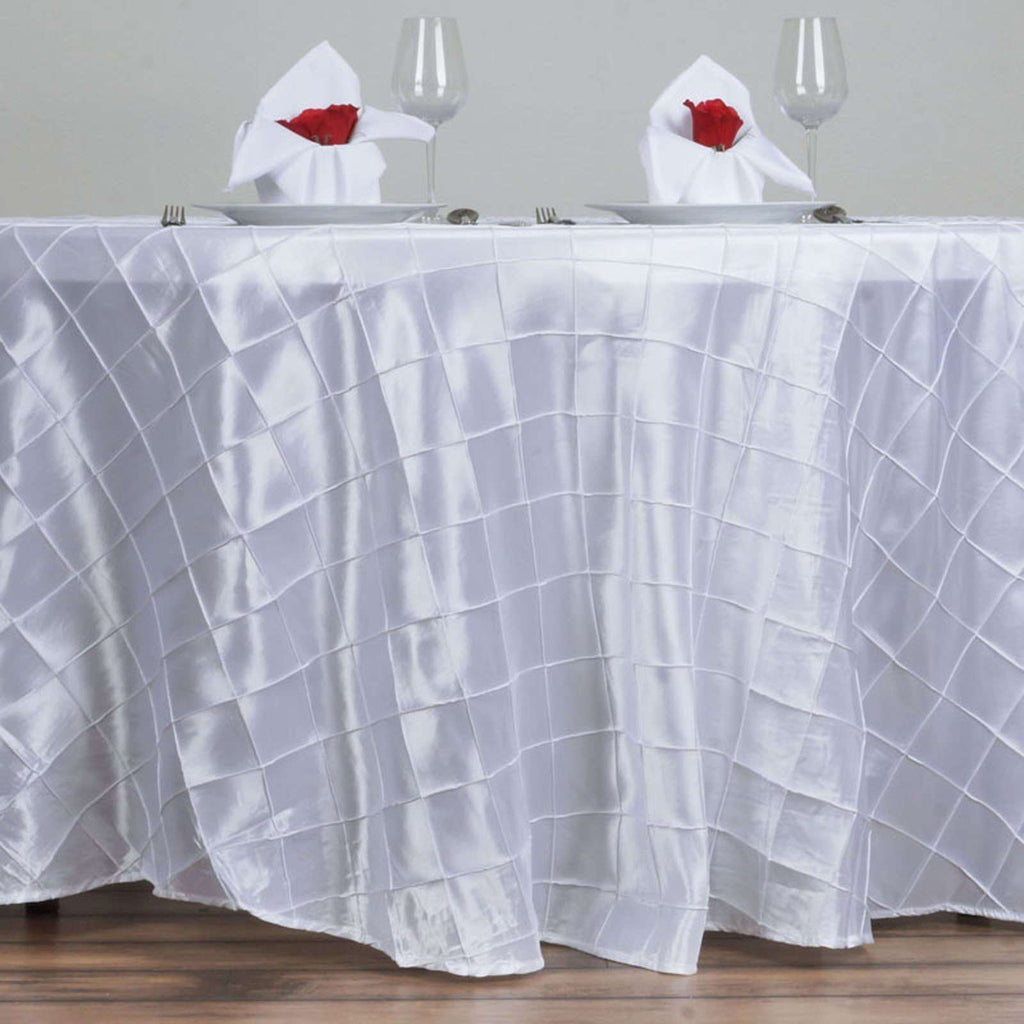 "White Pintuck Tablecloths 120"" Round"