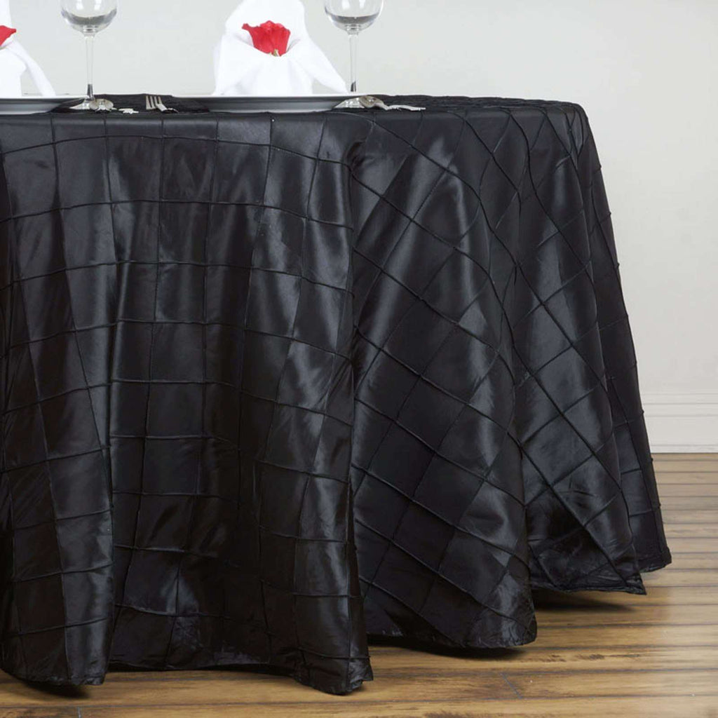 "Black Pintuck Tablecloths 132"" Round"