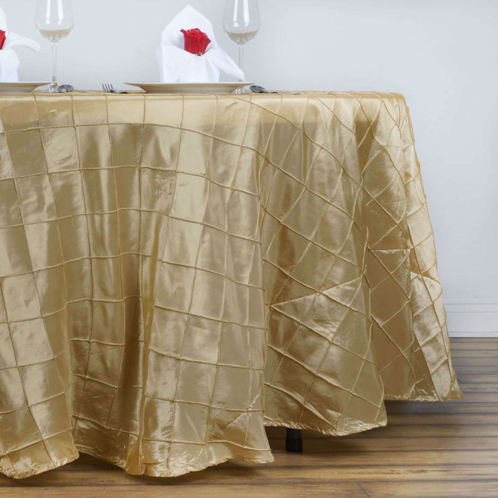 "Champagne Pintuck Tablecloths 132"" Round"