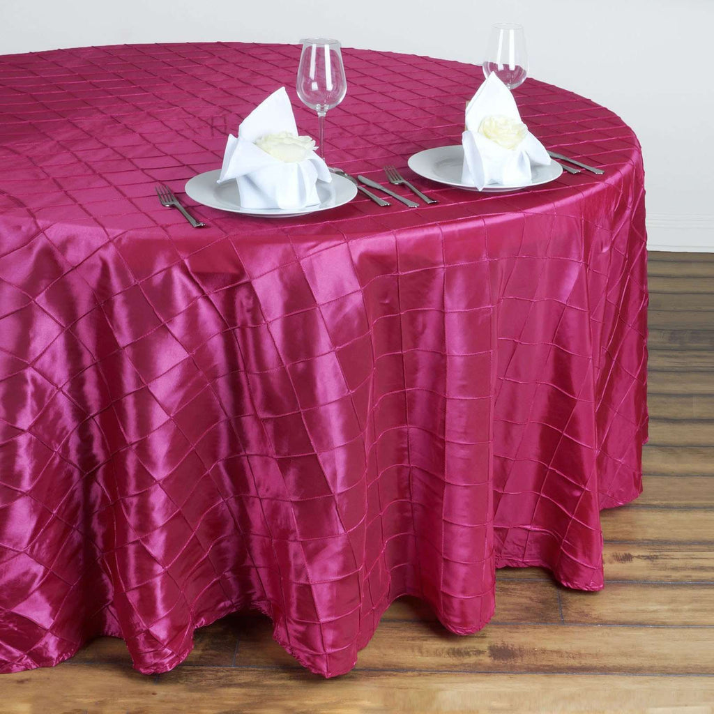 "132"" Round Tablecloth Pintuck - Fushia"