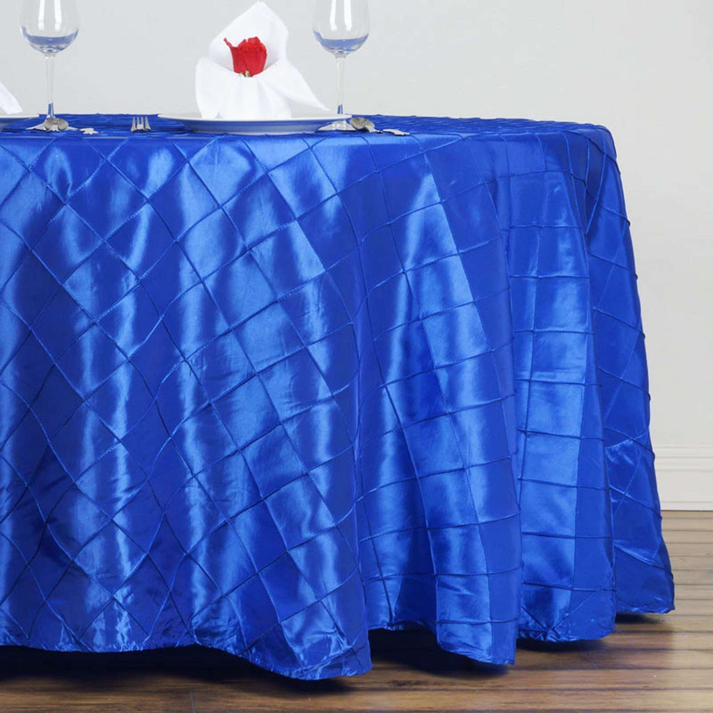 "Royal Blue Pintuck Tablecloths 132"" Round"