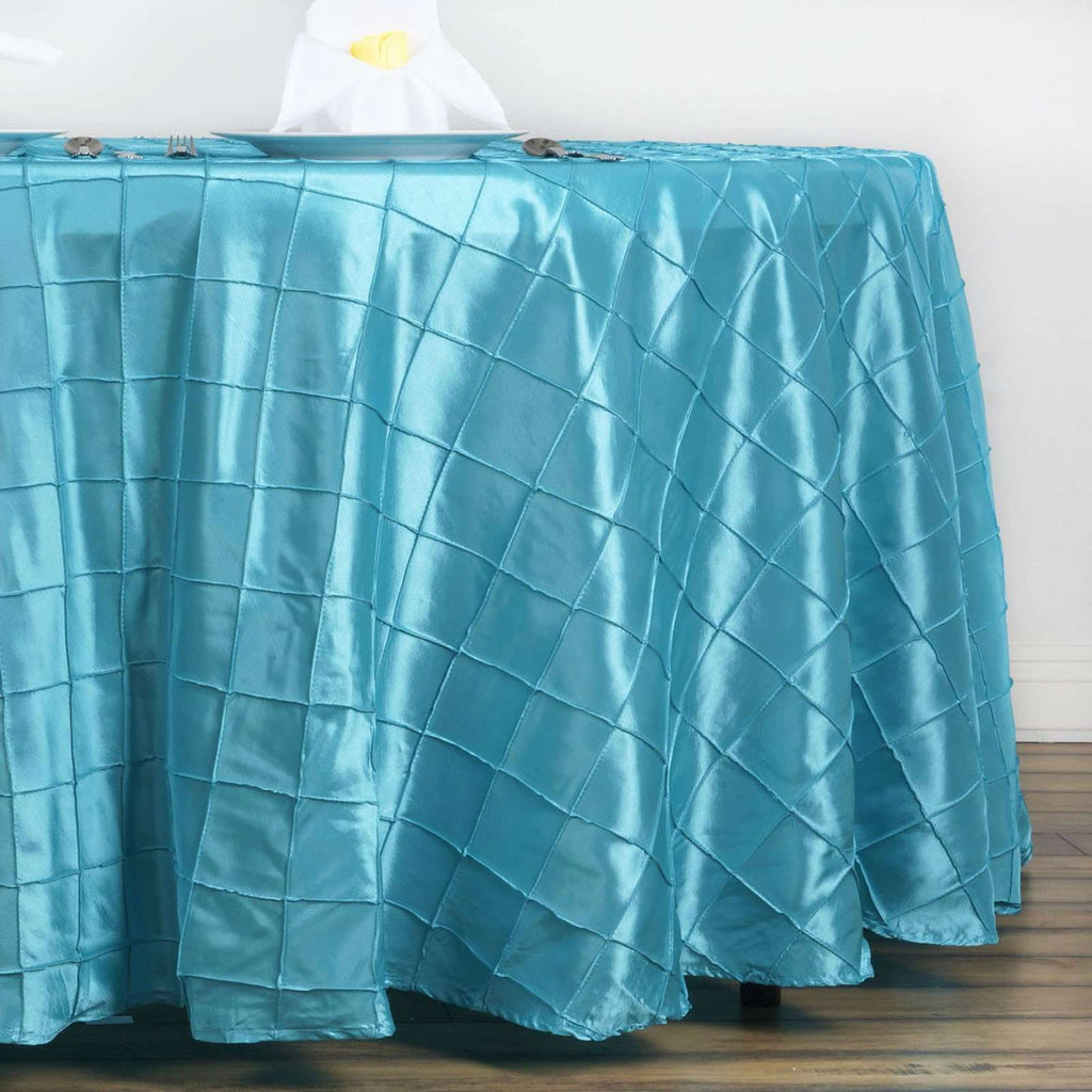 "Turquoise Pintuck Tablecloths 132"" Round"