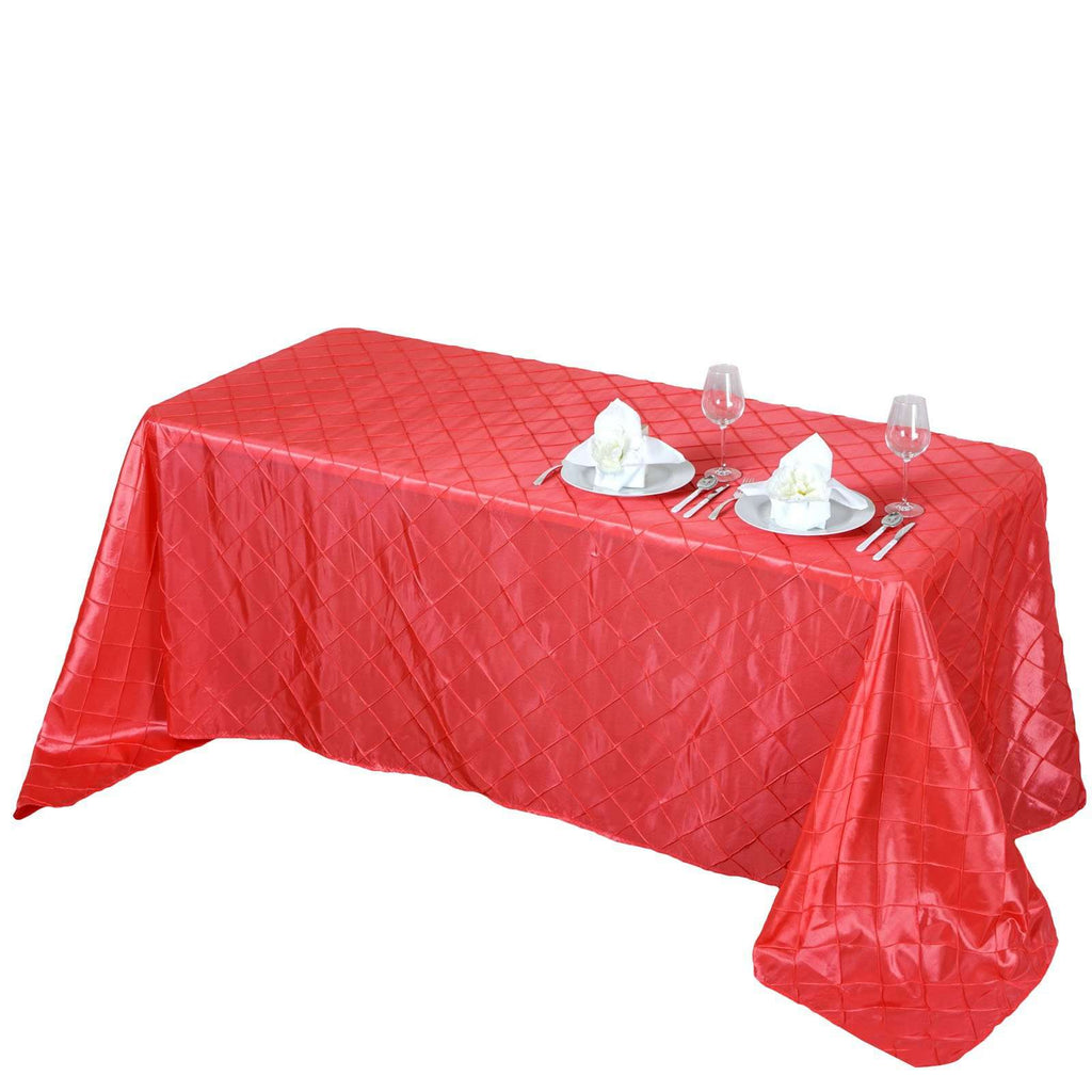 "90"" x 132"" Coral Taffeta Pintuck Tablecloths For Catering Wedding Party Decorations"