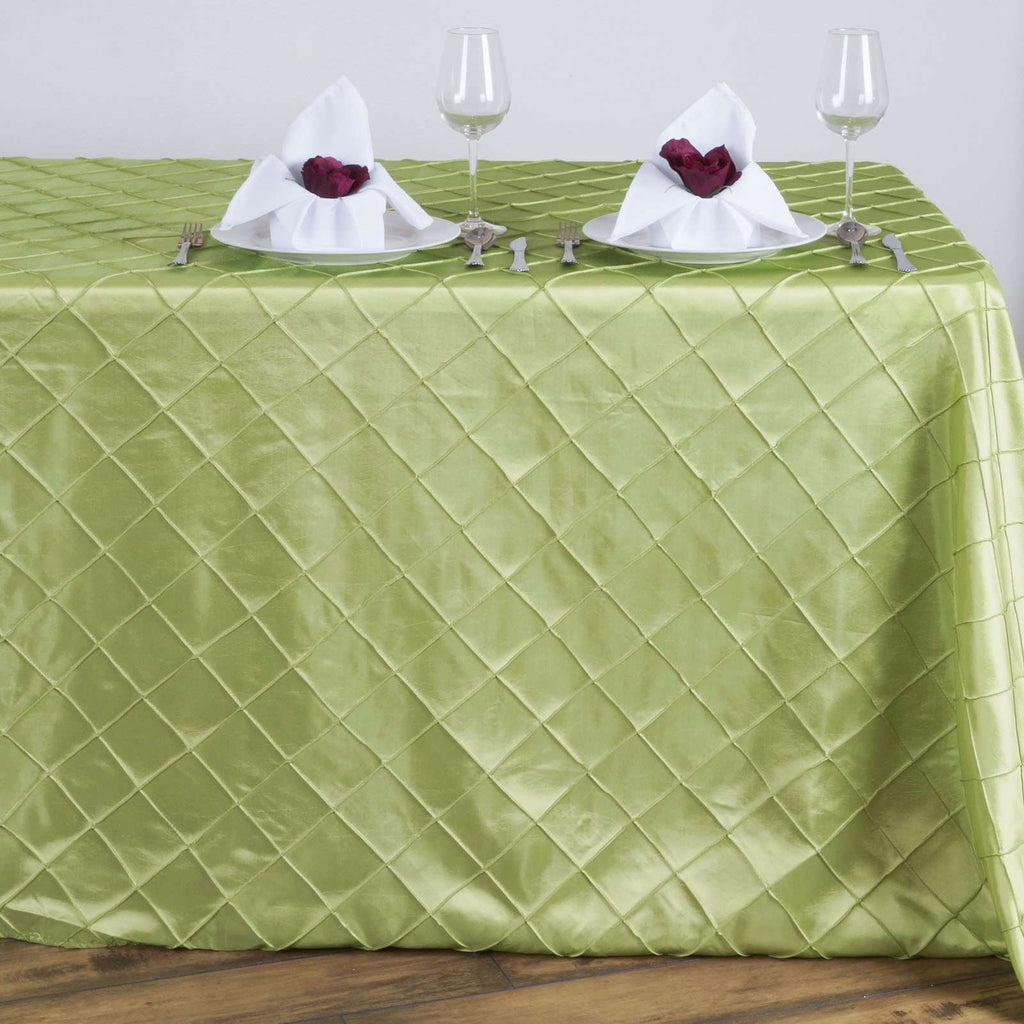 Apple Green Pintuck Tablecloth 90x132""