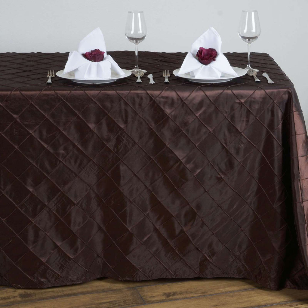 Chocolate Pintuck Tablecloth 90x132""