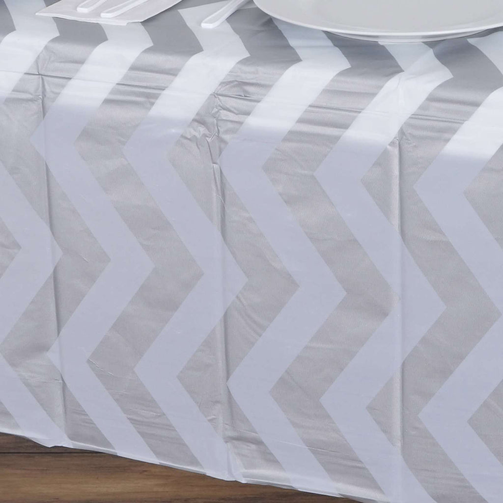 "54""x72"" Silver 10mil Thick Rectangle PVC Spill Proof & Waterproof Wipe Clean Chevron Tablecloths"