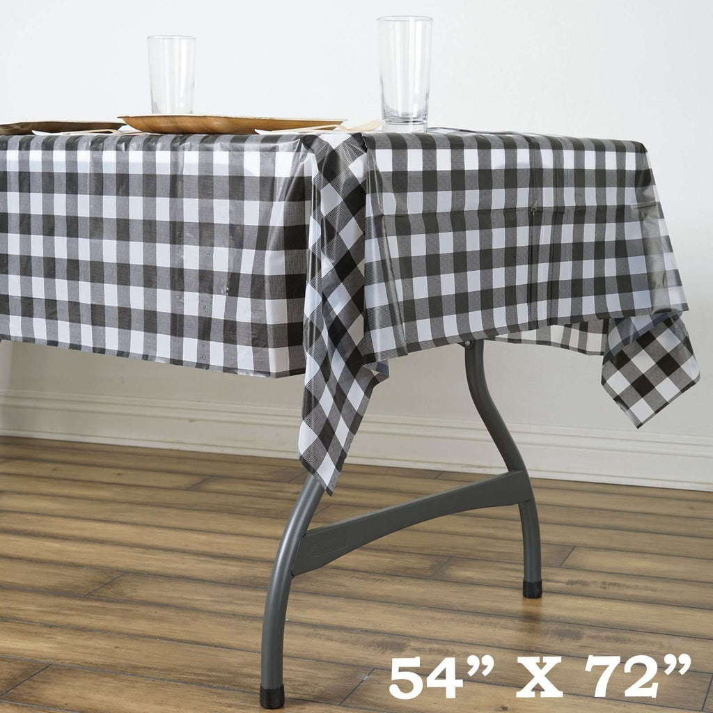"54""x72"" Spill Proof & Waterproof Wipe Clean Checkered tablecloth - White/Black"