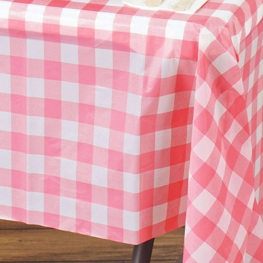 "54"" x 72"" Disposable Checkered Plastic Vinyl Picnic Birthday Party Home Tablecloth - White/ Pink"