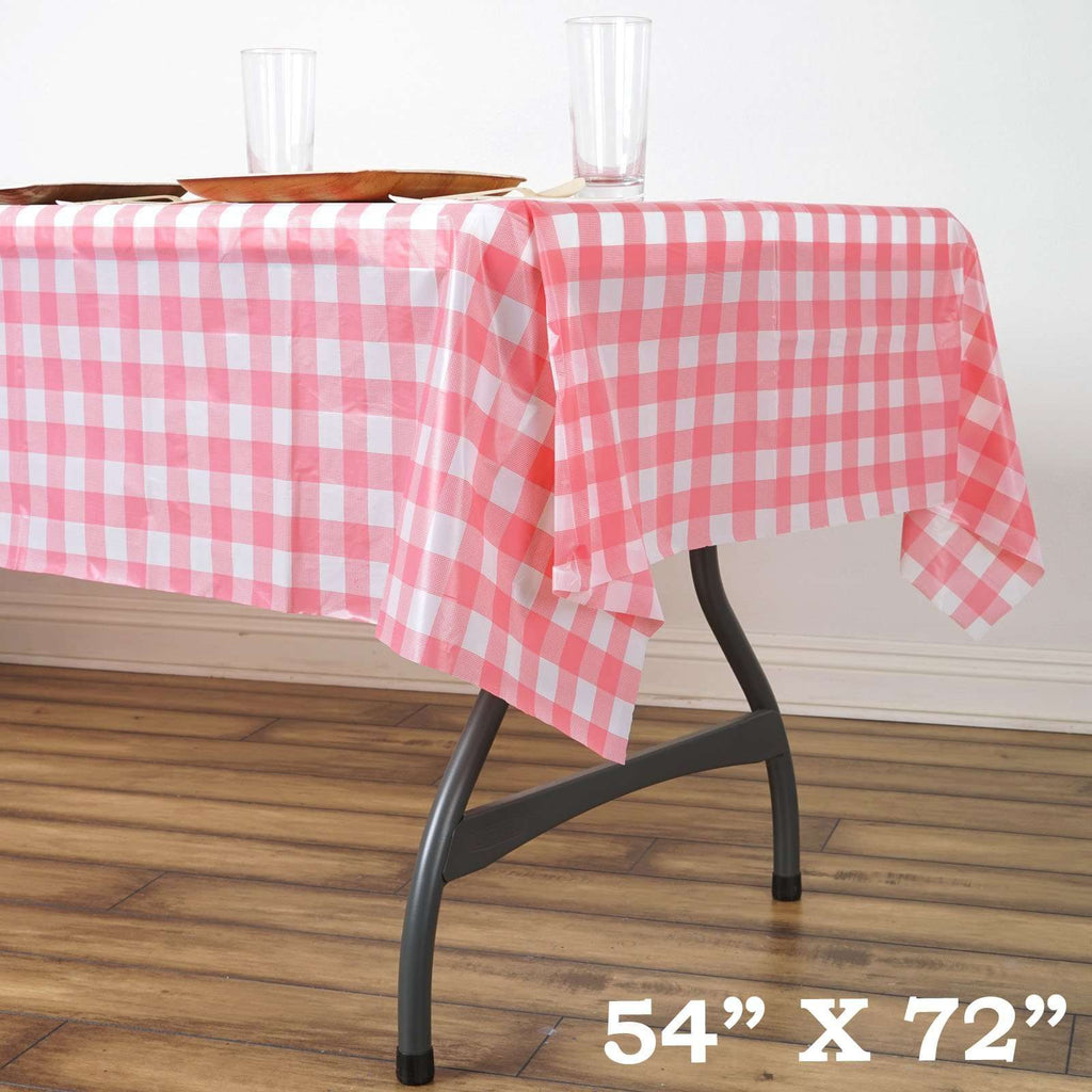 "54""x72"" Spill Proof & Waterproof Wipe Clean Checkered tablecloth - White/Pink"