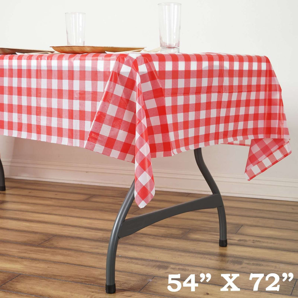 "54""x72"" Spill Proof & Waterproof Wipe Clean Checkered tablecloth - White/Red"