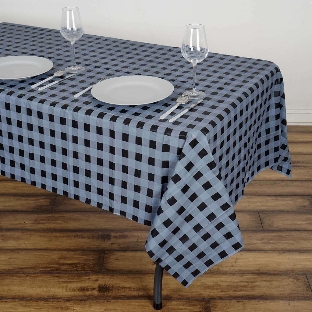 "54""x72"" Spill Proof & Waterproof Wipe Clean Checkered tablecloth - Silver/Black"