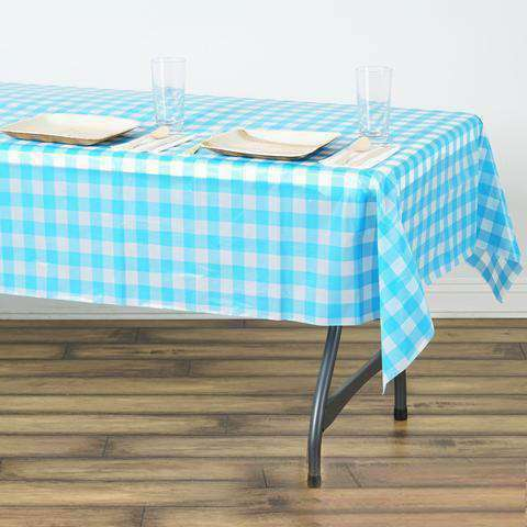 "54""x72"" Spill Proof & Waterproof Wipe Clean Checkered tablecloth - White/Serenity Blue"
