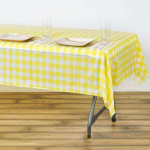 "54""x72"" Spill Proof & Waterproof Wipe Clean Checkered tablecloth - White/Yellow"