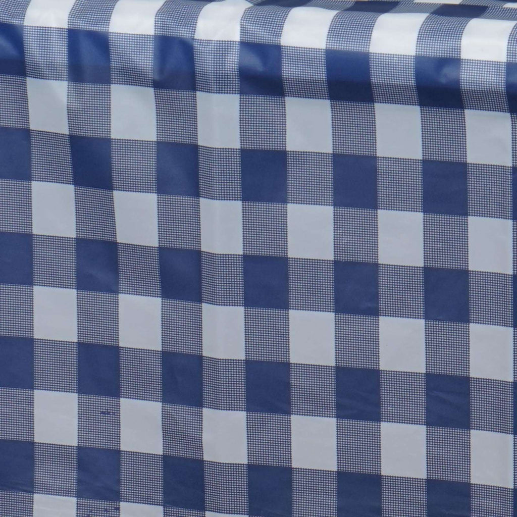 "54""x72"" Spill Proof & Waterproof Wipe Clean Checkered tablecloth - White/Navy Blue"