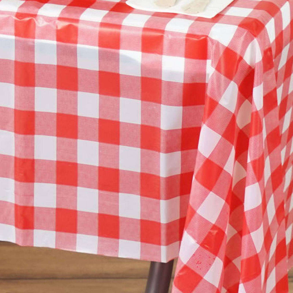 "Gorgeous Checkered 54x108"" Disposable Plastic Table Cover - White / Red"