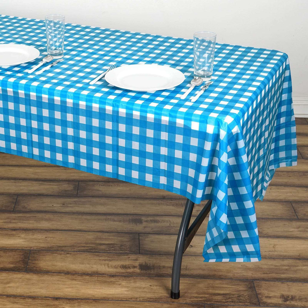 "54"" x 108"" Disposable Checkered Plastic Vinyl Tablecloth - White/Serenity Blue"