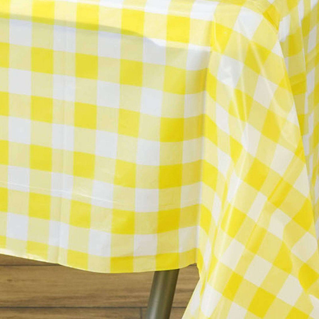 "54"" x 108"" Disposable Checkered Plastic Vinyl Picnic Birthday Party Home Tablecloth - White/Yellow"