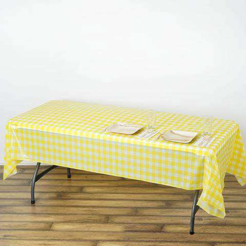 "54""x108"" Spill Proof & Waterproof Wipe Clean Checkered tablecloth -White/Yellow"