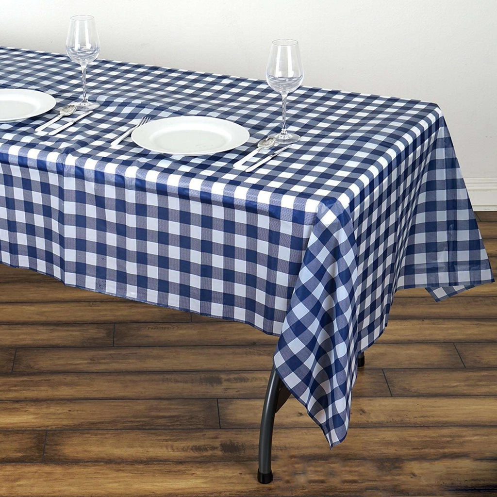 "54""x108"" Spill Proof & Waterproof Wipe Clean Checkered tablecloth - White/Navy Blue"