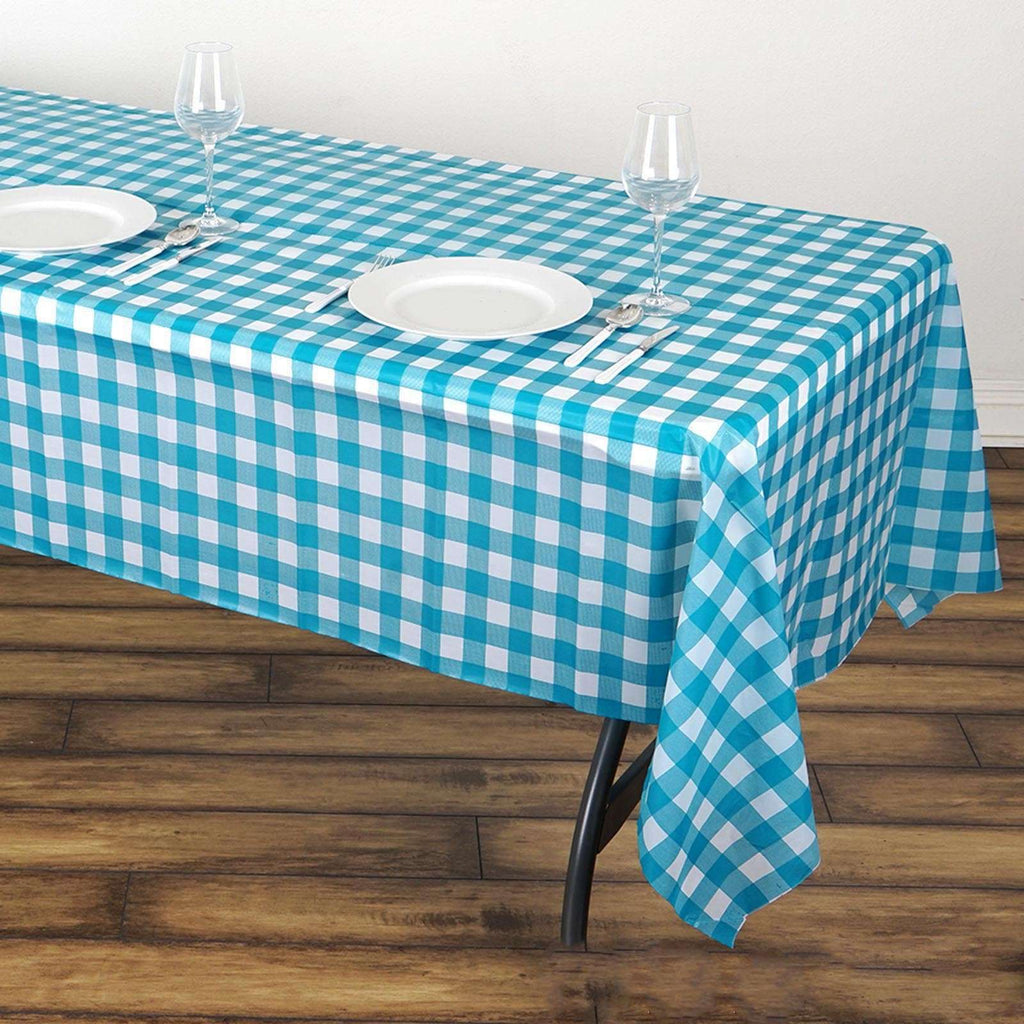 "54""x108"" Spill Proof & Waterproof Wipe Clean Checkered tablecloth - White/Turquoise"