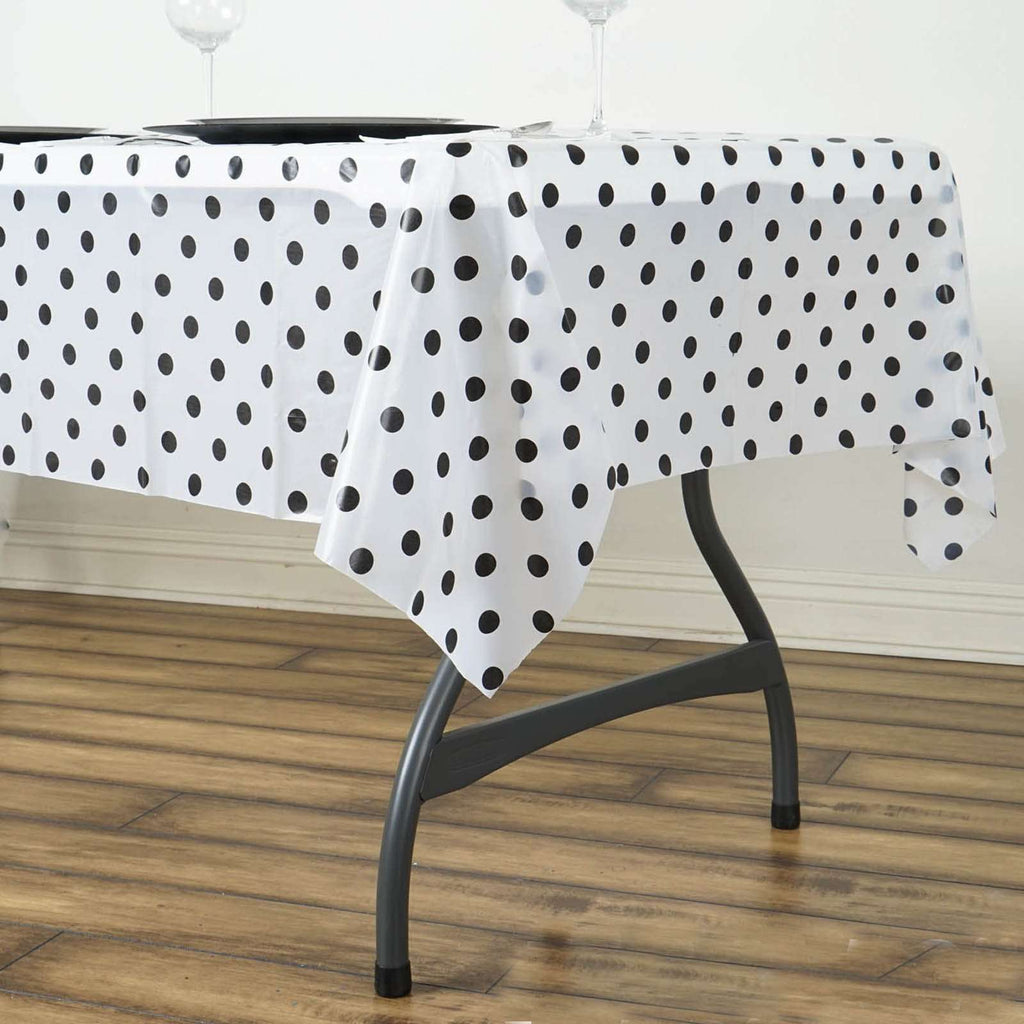 "54""x72"" Spill Proof & Waterproof Wipe Clean Polka Dots tablecloth - White/Black"
