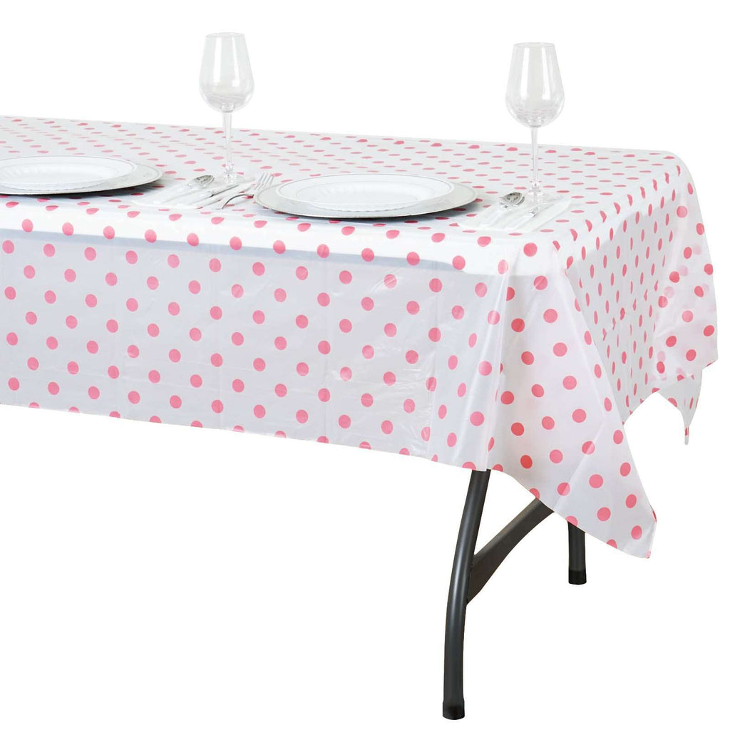 "54""x72"" Spill Proof & Waterproof Wipe Clean Polka Dots tablecloth - White/Pink"