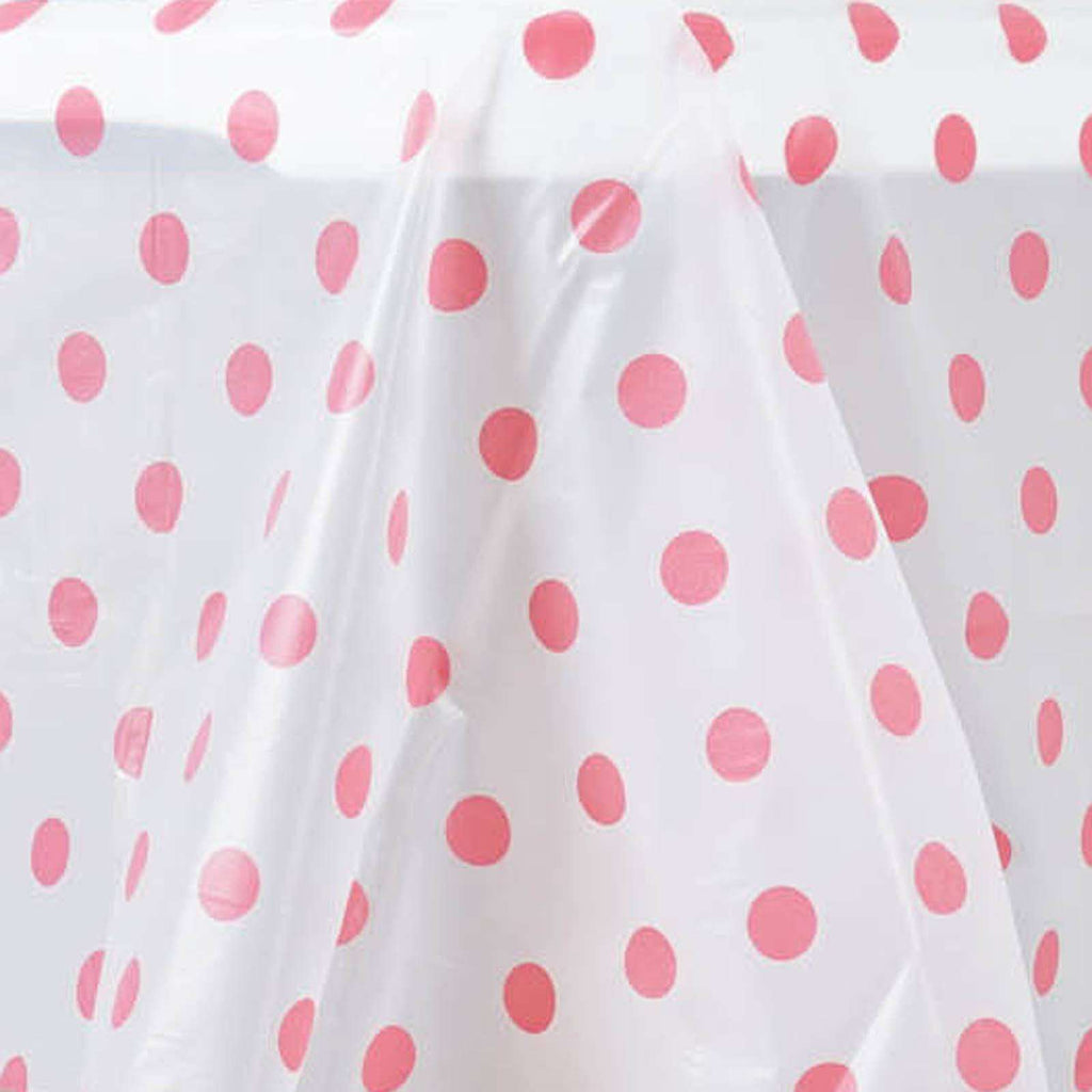 "54"" x 72"" Disposable Polka Dots Plastic Vinyl Picnic Birthday Party Home Tablecloth - White/Pink"