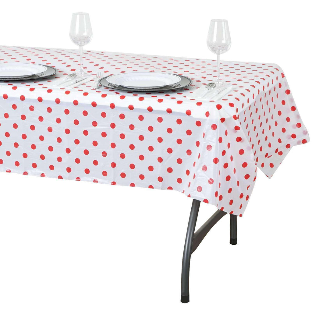 "54""x72"" Spill Proof & Waterproof Wipe Clean Polka Dots tablecloth - White/Red"