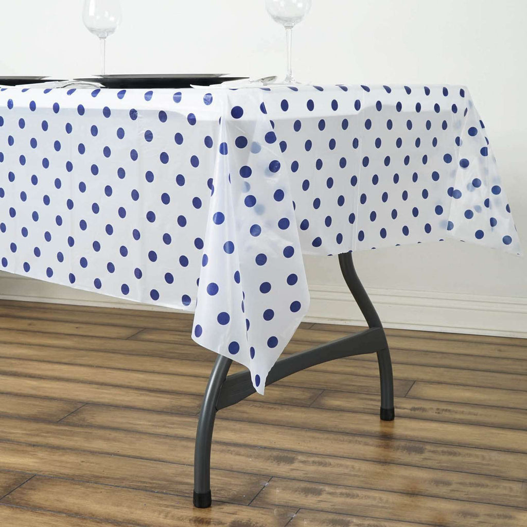 "54""x72"" Spill Proof & Waterproof Wipe Clean Polka Dots tablecloth - White/Royal Blue"