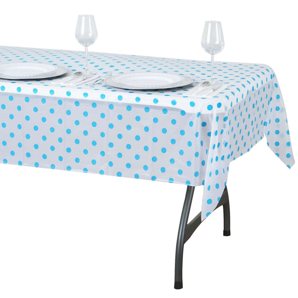 "54""x72"" Spill Proof & Waterproof Wipe Clean Polka Dots tablecloth - White/Serenity Blue"