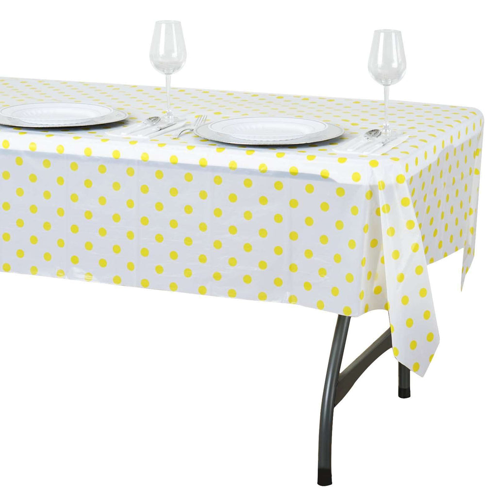 "54""x72"" Spill Proof & Waterproof Wipe Clean Polka Dots tablecloth - White/Yellow"