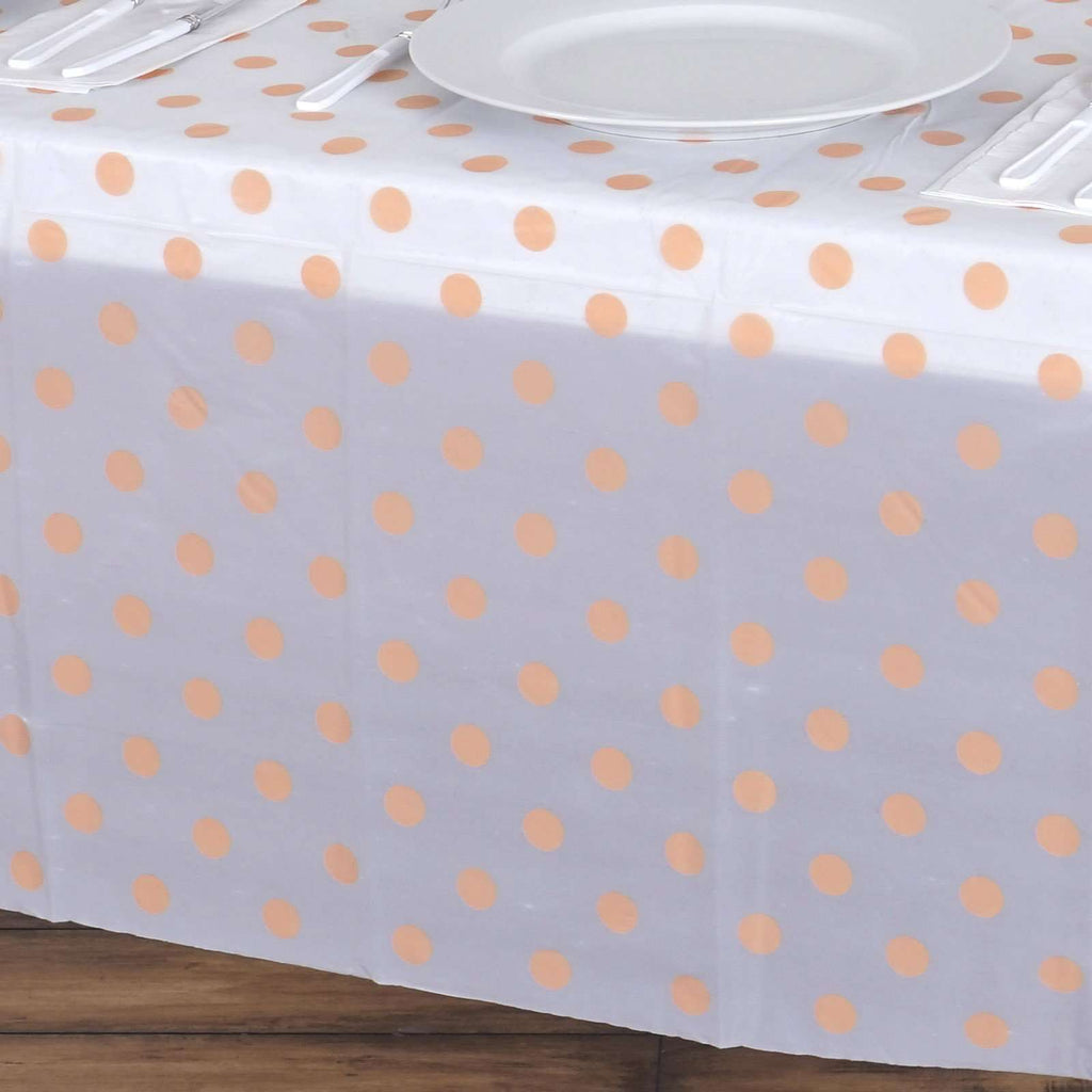 "54""x72"" Peach Polka Dots Plastic Vinyl Tablecloth"