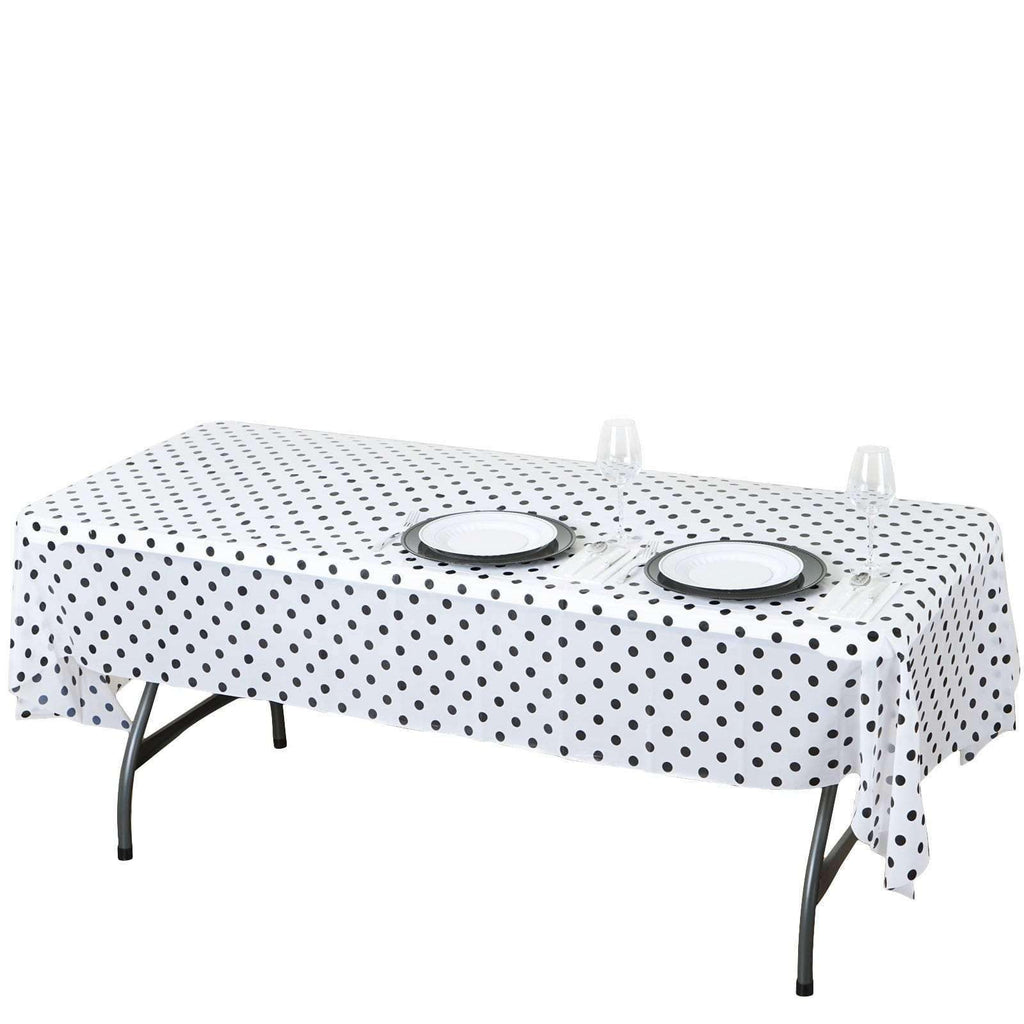 "54""x108"" Spill Proof & Waterproof Wipe Clean Polka Dots tablecloth - White/Black"