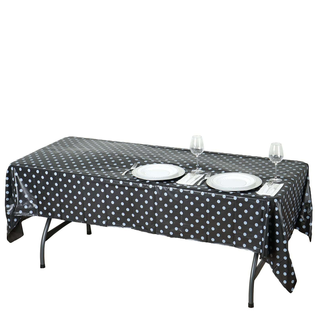 "54""x108"" Spill Proof & Waterproof Wipe Clean Polka Dots tablecloth - Black/White"
